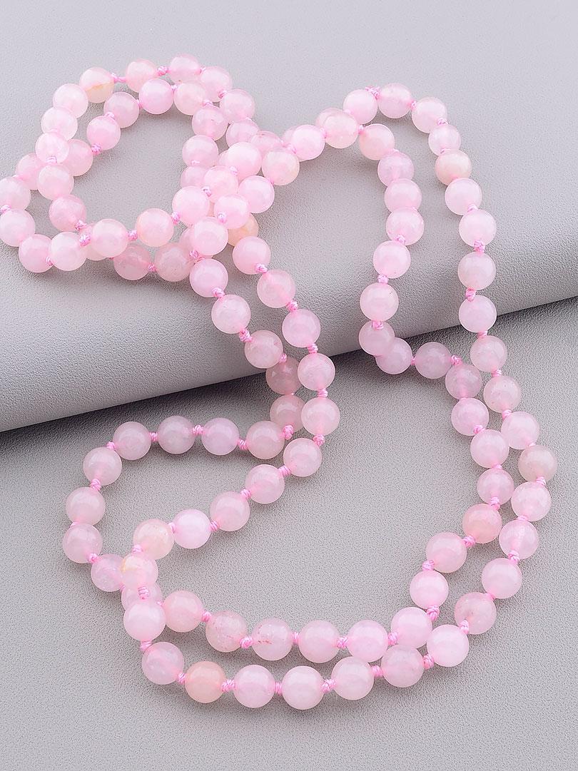 Браслет Розовый кварц 115 см
