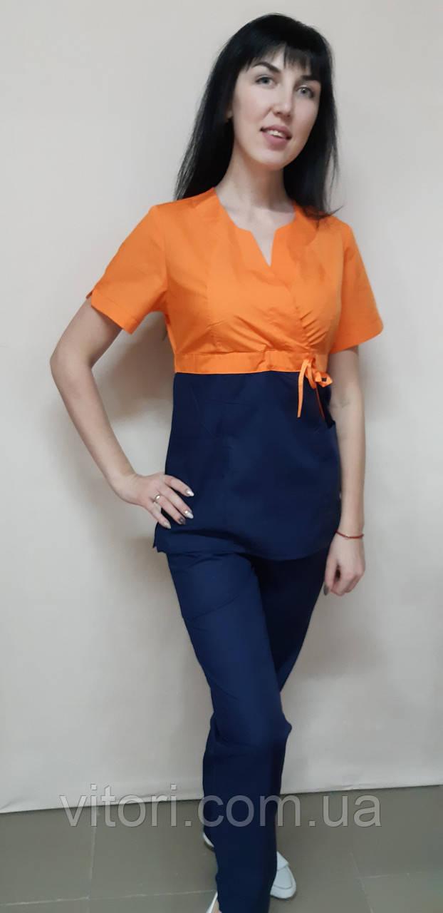Жіночий медичний костюм Сакура-комбі бавовна короткий рукав