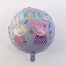 Фольгированный круглый шар свинка пеппа и ребекка на уроке музыки   45 см
