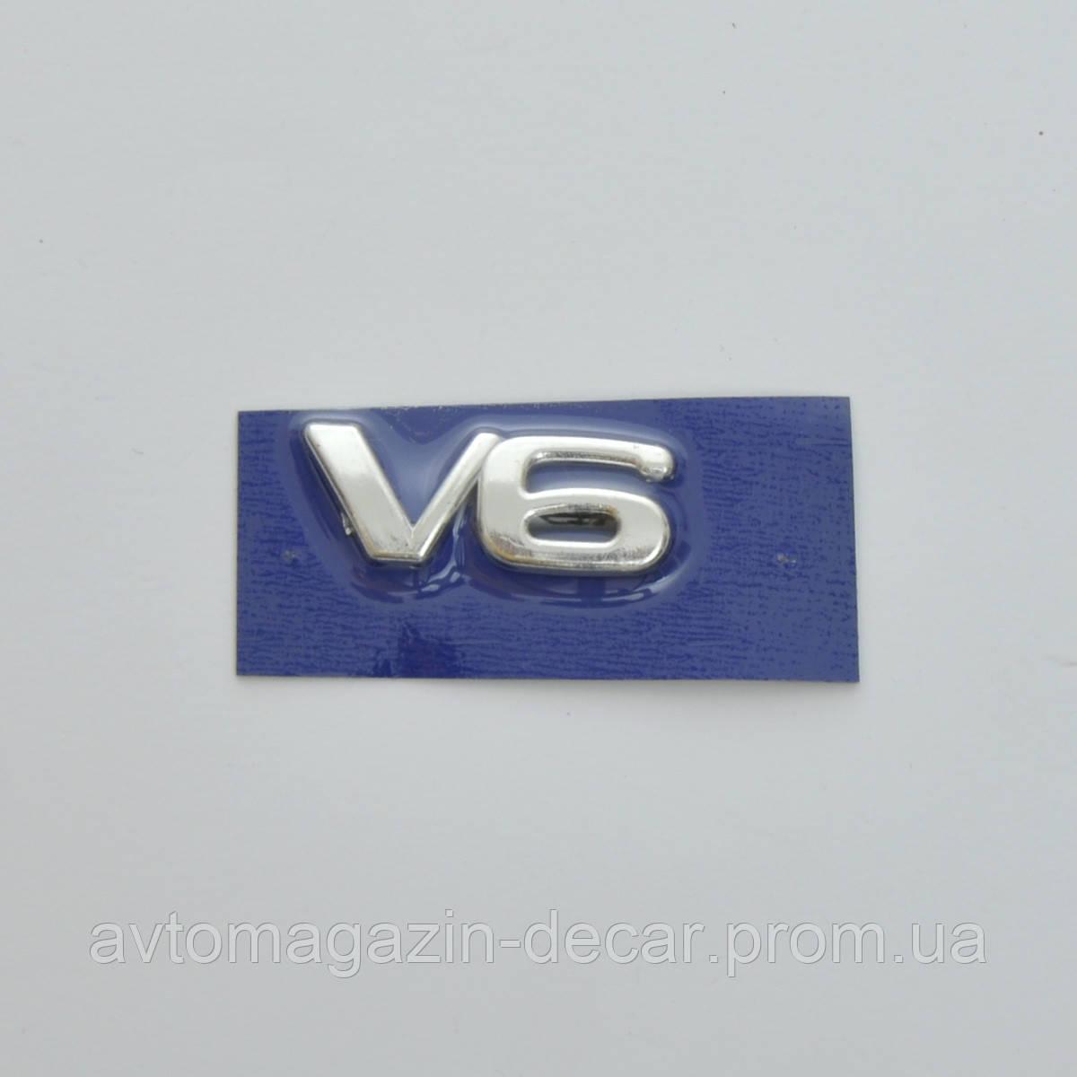 "Эмблема - надпись   ""V 6"" скотч 47х17 мм (5690)"