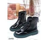 Ботинки демисезонные на ровной зеленой подошве, фото 4