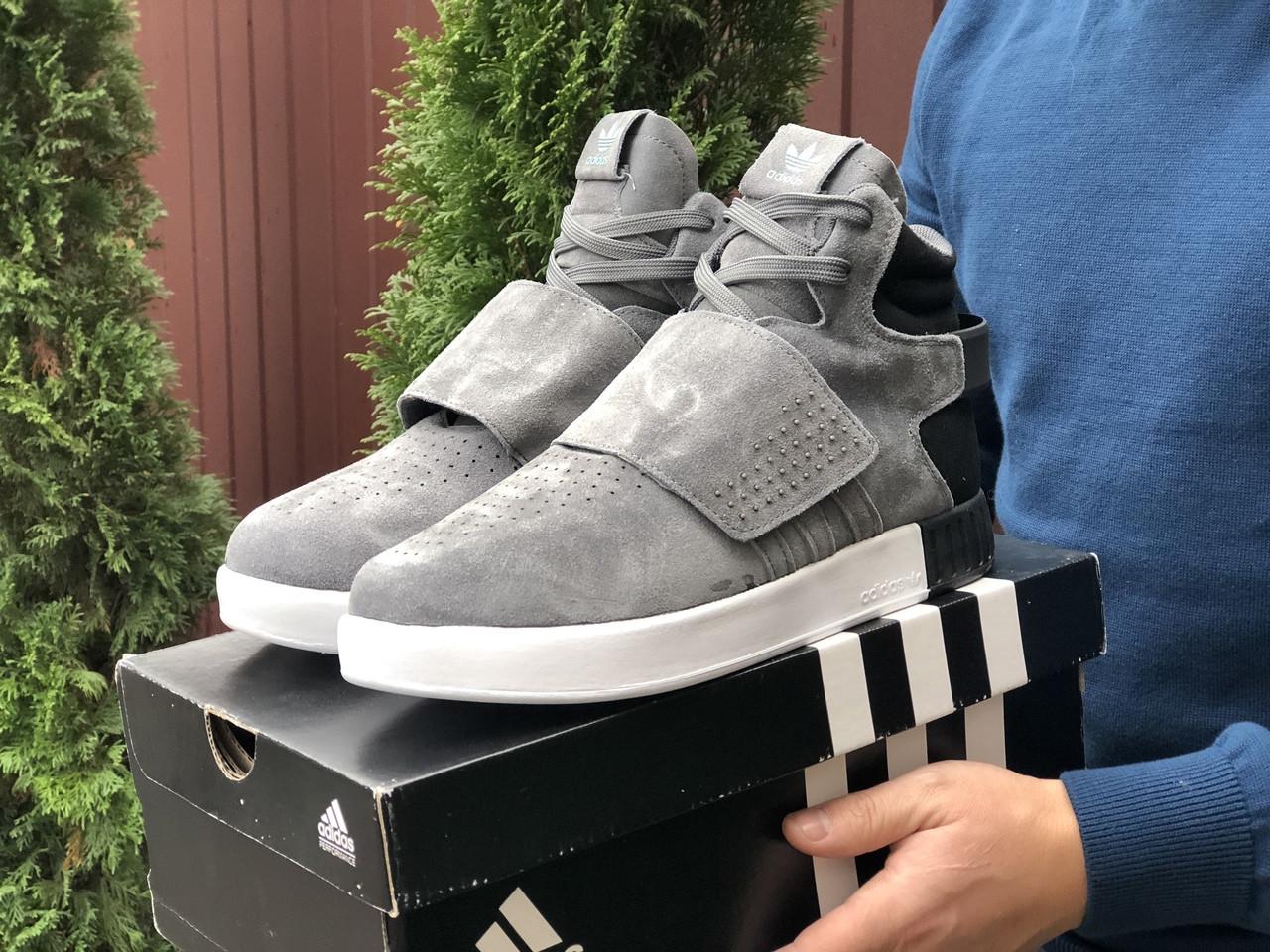 Мужские зимние кроссовки Adidas Tubular (серые) 10036