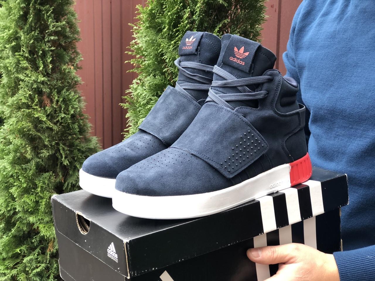 Мужские зимние кроссовки Adidas Tubular (темно-синие) 10037