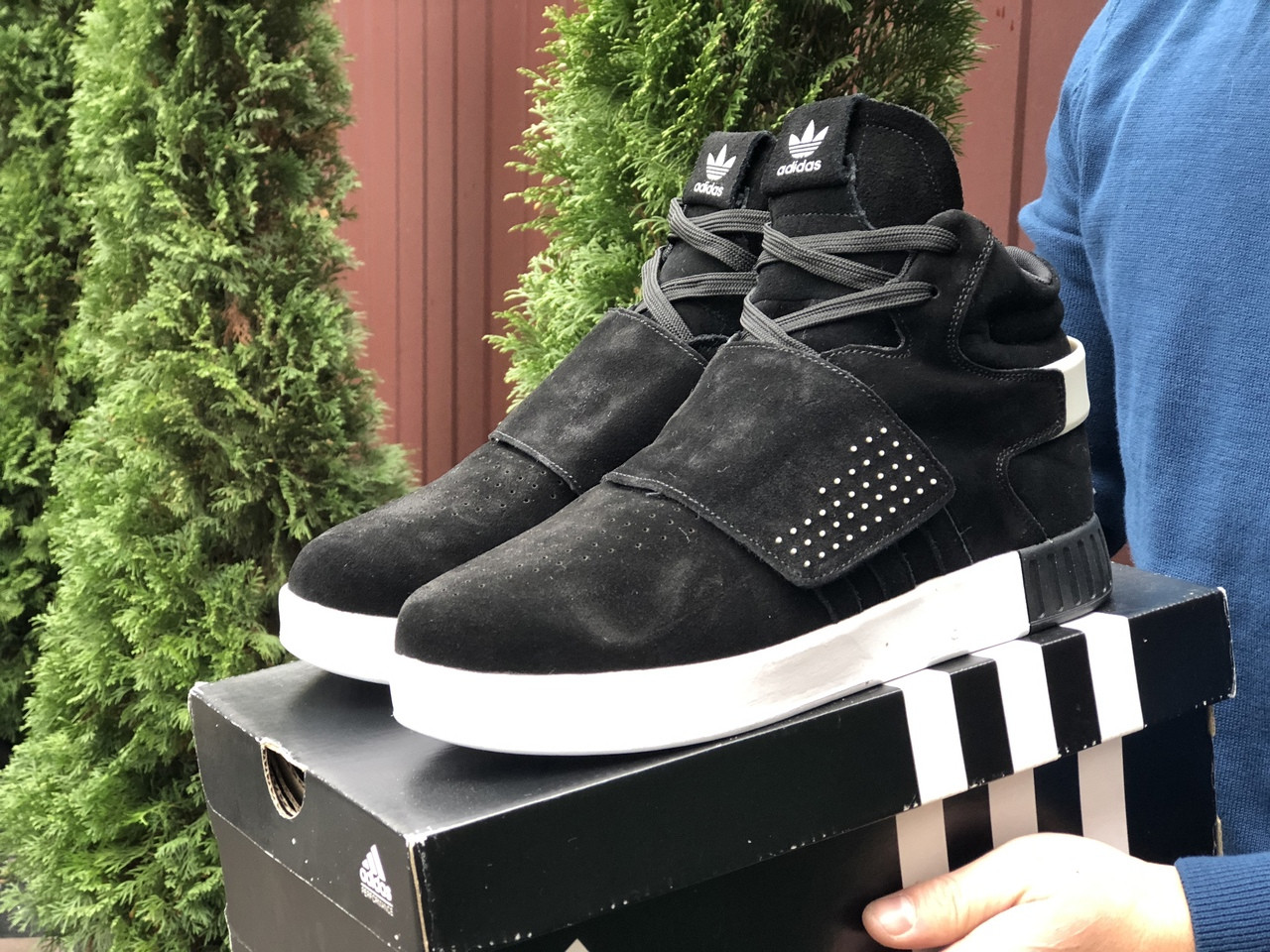 Мужские зимние кроссовки Adidas Tubular (черно-белые) 10038