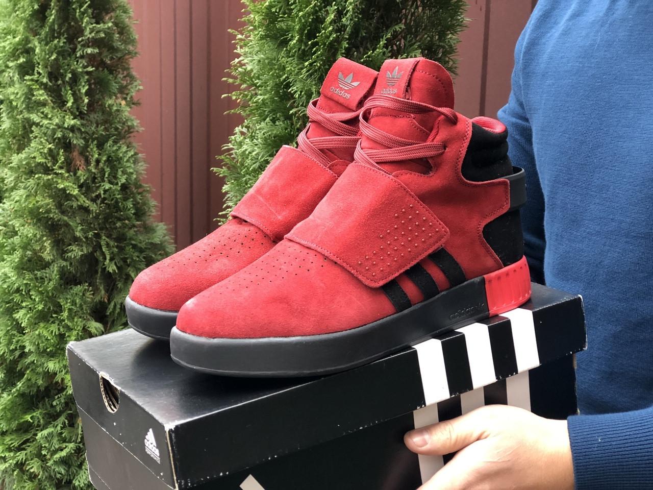 Мужские зимние кроссовки Adidas Tubular (красные) 10039