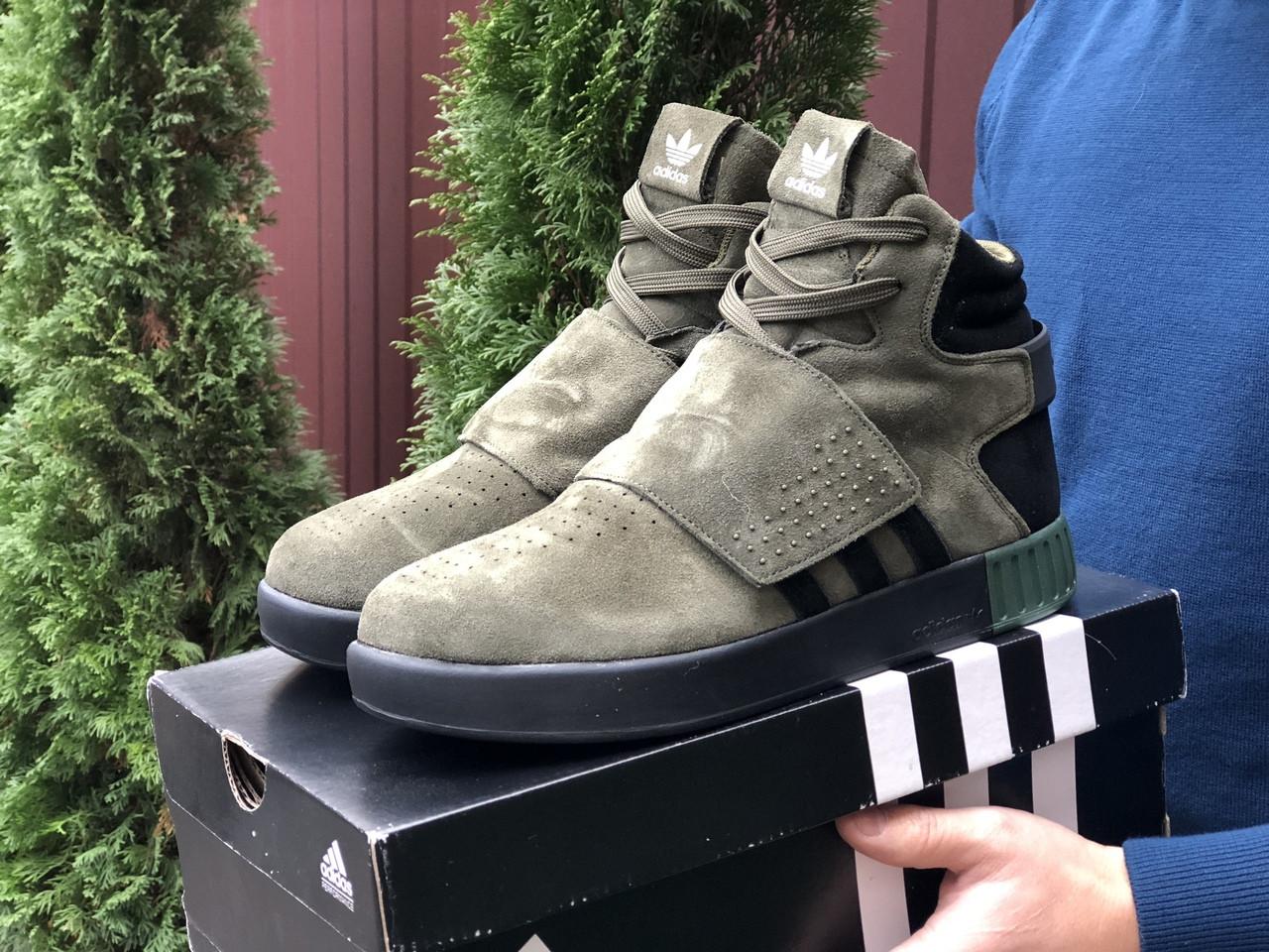 Мужские зимние кроссовки Adidas Tubular (темно-зеленые) 10040