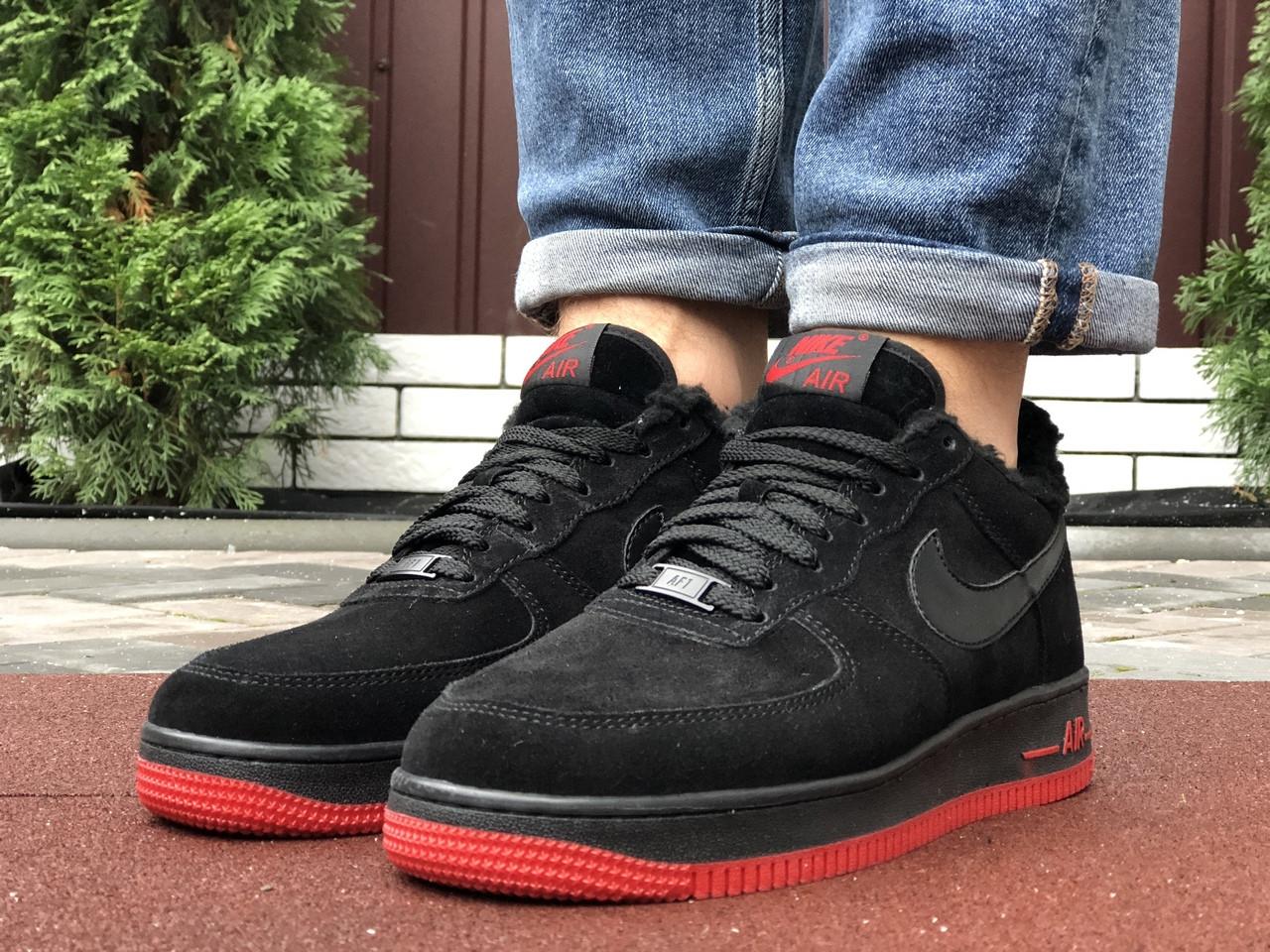 Мужские зимние кроссовки Nike Air Force (черно-красные) 10052