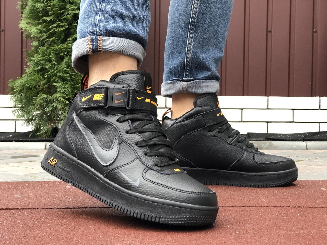 Мужские зимние кроссовки Nike Air Force (черно-оранжевые) 10057