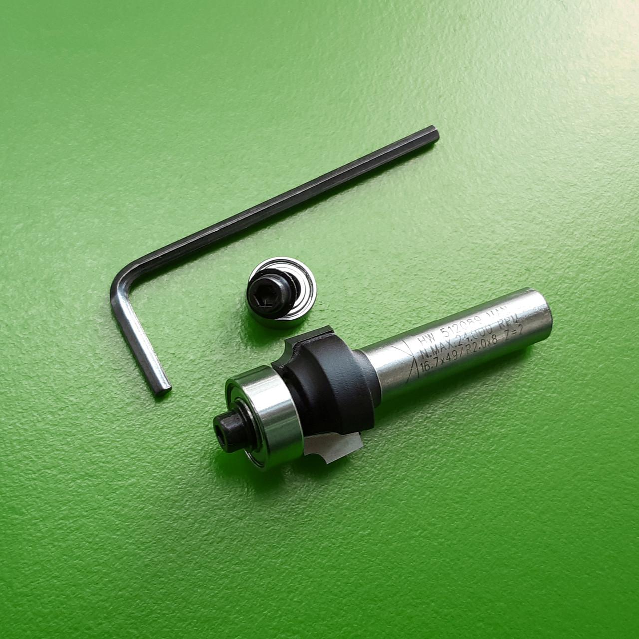 18,7х10х51х8, z=2, R=3 Радиусная кромочная фреза Stehle с опорным подшипником для ручного фрезера