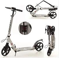 Самокат двухколесный Scooter для детей и взрослых с ручным тормозом в черном цвете