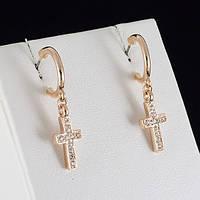 Хорошенькие серьги-крестики с кристаллами Swarovski, покрытые золотом 0370