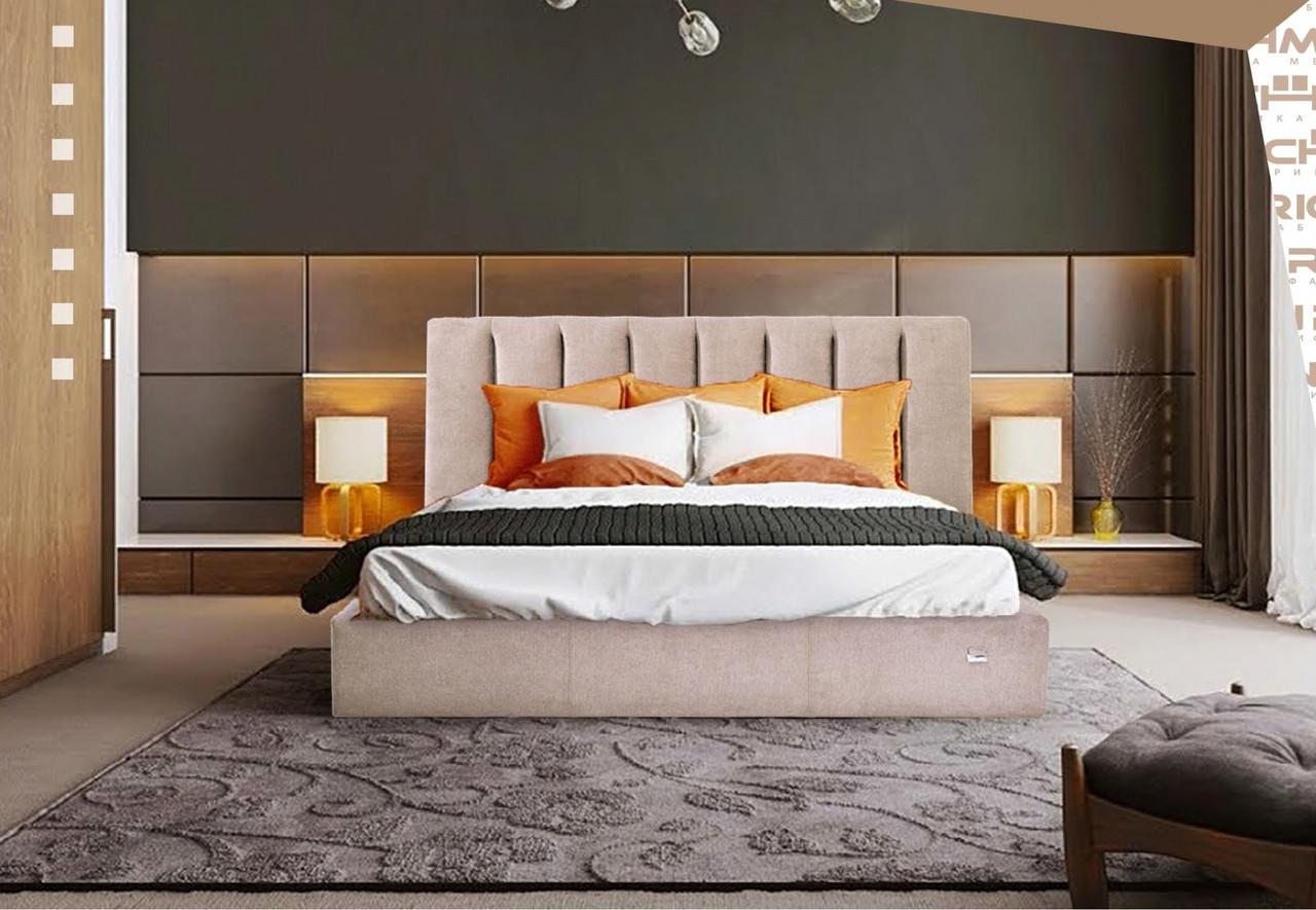 Кровать Двуспальная Sanam Comfort 160 х 190 см Мисти Mocco С подъемным механизмом и нишей для белья Серая