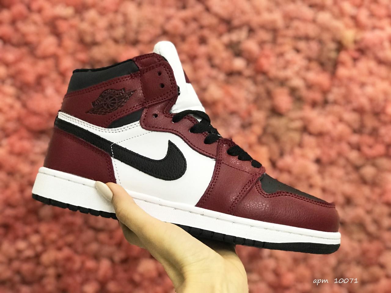 Женские зимние кроссовки Nike Air Jordan 1 Retro (бело-бордовые) 10071