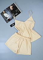 Пижама женская Este майка и шорты бежевая