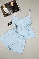Пижама женская Este майка и шорты голубая