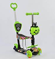 Самокат - беговел 5в1 Best Scooter со светящимися передними колесами и родительской ручкой