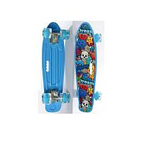 Пенни борд Penny Board (скейт) Голубой со светящимися колесами