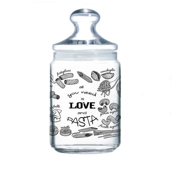 Банка стеклянная с крышкой Luminarc Love Pasta 1000мл