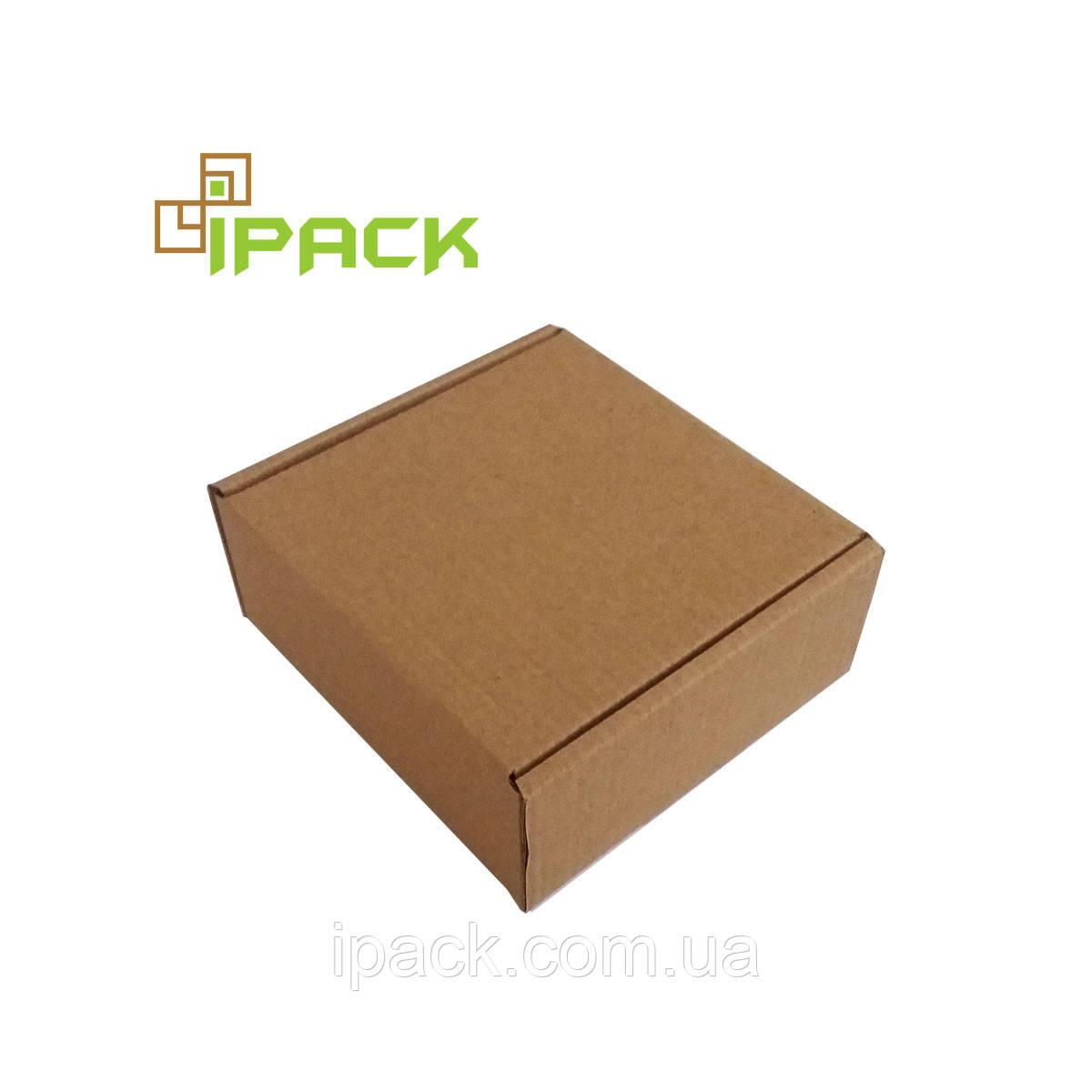 Коробка картонна самозбираюча 130*130*70 мм бура крафт мікрогофрокартон
