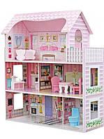 Деревянный домик для кукол с мебелью в 3 этажа (аналог KidKraft) 1204