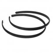 Обруч для волос пластиковый в атласе, 1 см. Чёрный