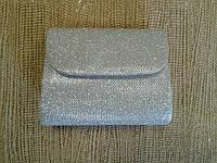 Вечерний мини клатч серебристый