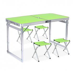 Стол для пикника | Складной стол | Складной туристический стол Folding Table + 4 стула Светлое дерево