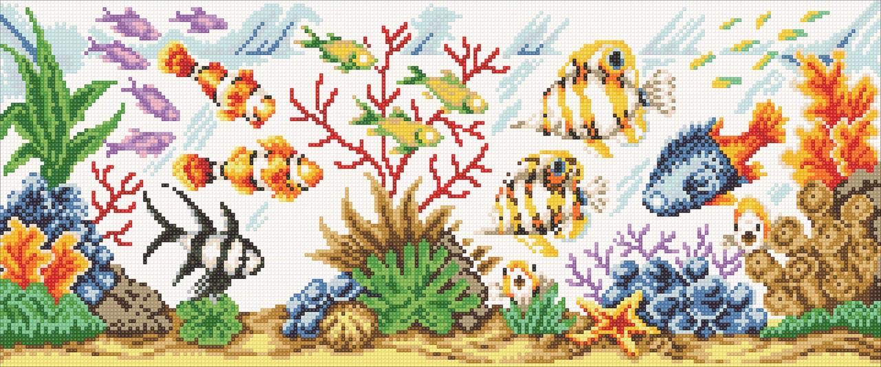 Алмазна мозаїка Акваріум DM-364 60х25см Повна зашивання. Набір алмазної вишивки