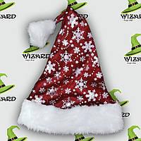 Колпак Санта Клауса со снежинками + мех, фото 1