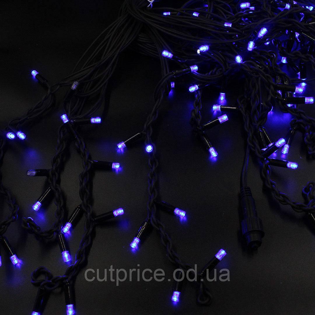 Xmas гірлянда LED 150 3.3 Line Short curtain(Бурульки/Бахрома) B-2 Синя 10M*1,5 M Вул.+соед Чорний(10)