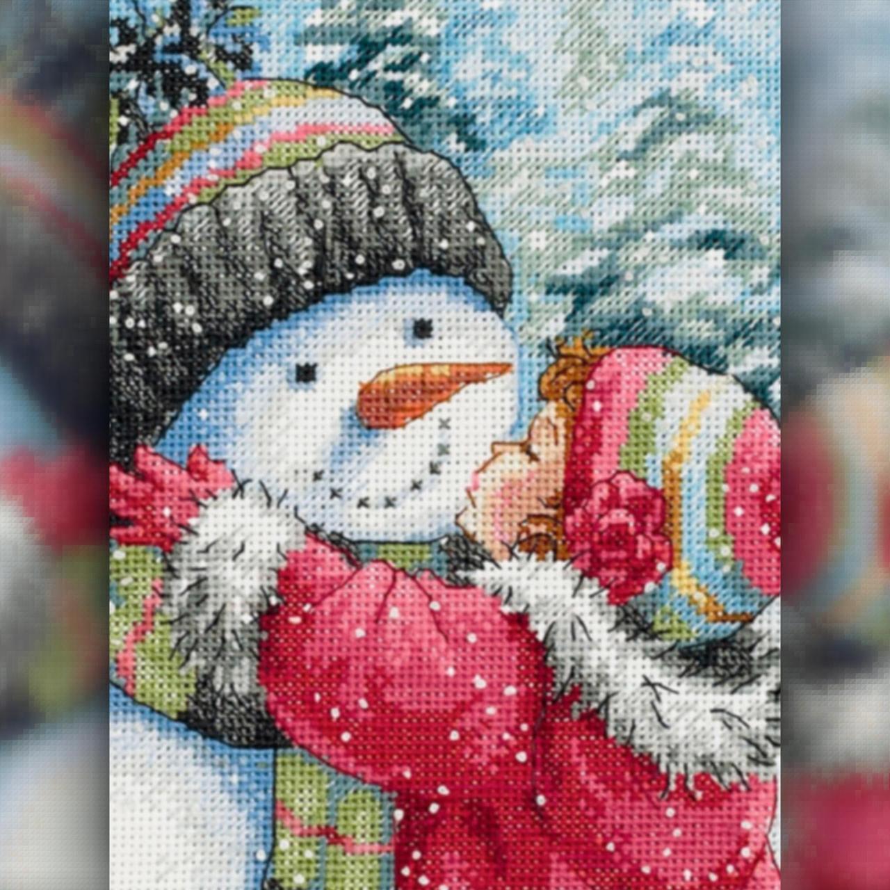 Алмазная вышивка мозаика The Wortex Diamonds Снеговичек девочки 40х50см TWD70012L полная зашивка квадратные