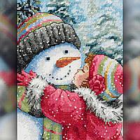 Алмазная вышивка мозаика The Wortex Diamonds Снеговичек девочки 40х50см TWD70012L полная зашивка квадратные, фото 1