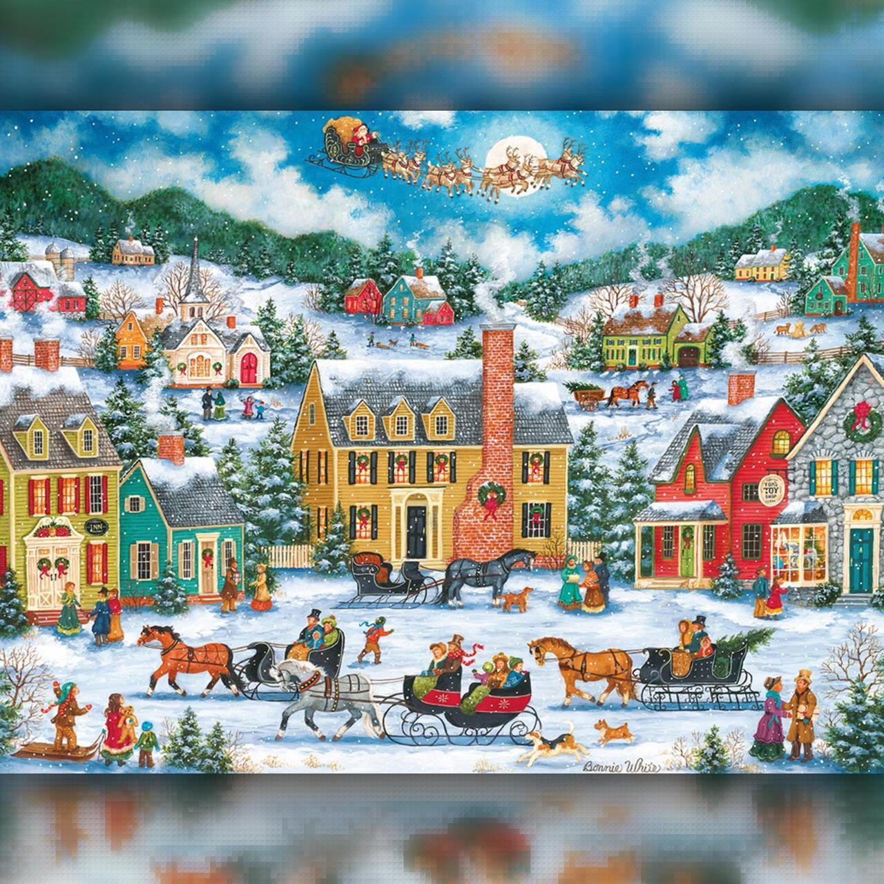 Алмазная вышивка мозаика The Wortex Diamonds Новогодний городок 40х50см TWD70020L полная зашивка квадратные