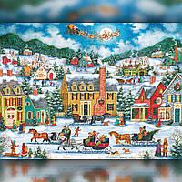 Алмазная вышивка мозаика The Wortex Diamonds Новогодний городок 40х50см TWD70020L полная зашивка квадратные, фото 1