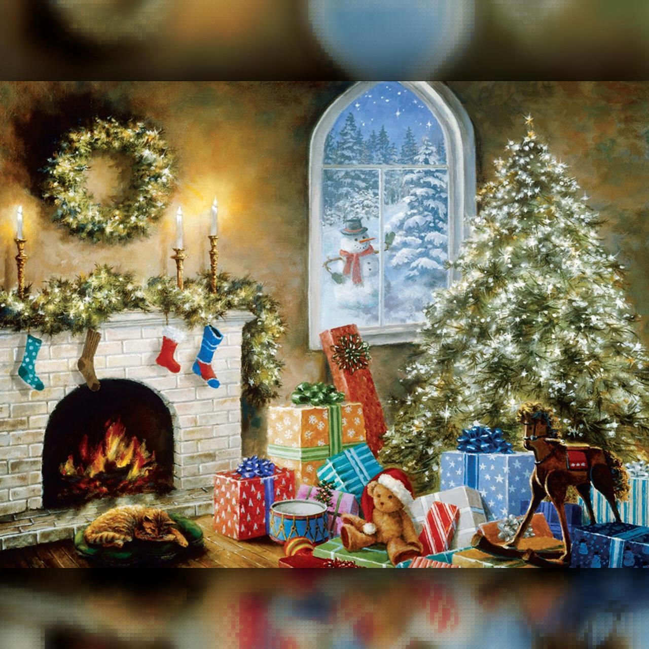 Алмазная вышивка мозаика The Wortex Diamonds Комната перед Рождеством 40х50см TWD70011L полная зашивка