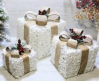 Новогодний святящийся декор Подарки (набор 3 шт), фото 1