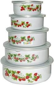 Контейнер для еды | Судок для еды | Набор судочков эмалированных Benson BN-099