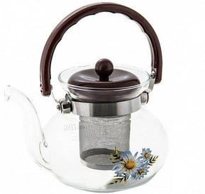 Заварочный чайник | Заварник стеклянный огнеупорный 1100мл 9451