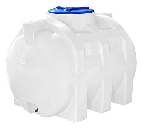 Горизонтальная 500 литров бочка, бак, емкость пищевая усиленная для транспортировки RGО, фото 2