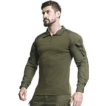 Тактическая рубашка Lesko A655 Green 3XL (40 р.) мужская милитари с длинным рукавом камуфляж армейская убакс, фото 3