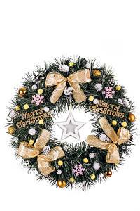 Новогодний венок. Искусственный рождественский венок ПВХ с декором 45 см золотистый