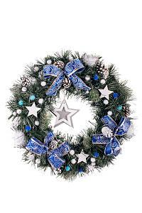 Новогодний венок. Искусственный рождественский венок ПВХ с декором 45 см синий