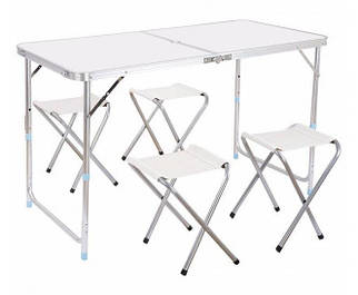 Стол для пикника | Складной стол | Складной туристический стол Folding Table + 4 стула White