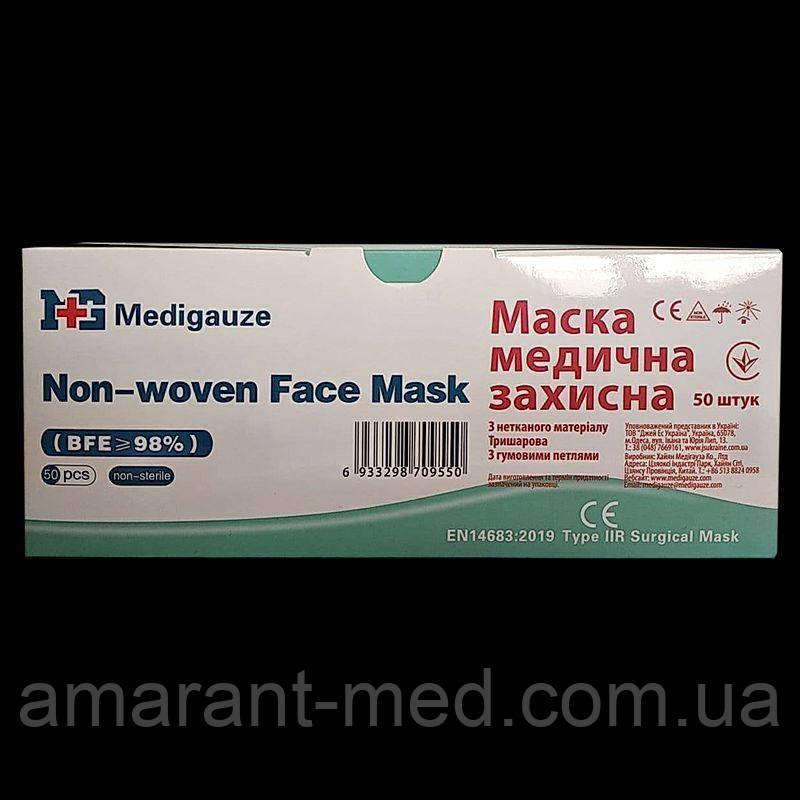 Маска медична захисна нестерильна, однор.використання(50 шт/пак 40пак./кор) № 50