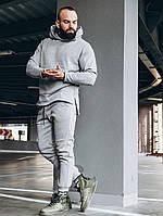 Спортивний костюм з подовженою толстовкою чоловічий зимовий теплий сірий якісний без логотипу Long, фото 1