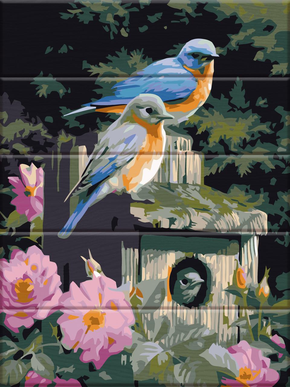 Художественный творческий набор, картина по номерам на дереве Птицы в цветах, 30x40 см, «Art Story» (ASW094)