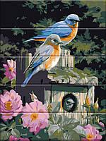 Художественный творческий набор, картина по номерам на дереве Птицы в цветах, 30x40 см, «Art Story» (ASW094), фото 1