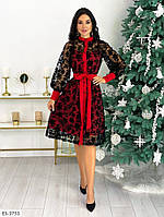 Вечернее платье красное с сеткой напыление, фото 1