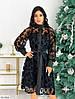 Вечернее платье черное с сеткой напыление