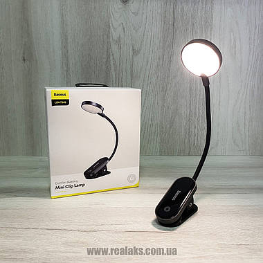 Универсальная лампа с клипсой BASEUS Mini Clip Lamp (black), фото 3